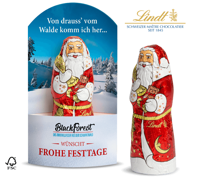 werbeartikel lindt nikolaus aus alpenvollmilch schokolade. Black Bedroom Furniture Sets. Home Design Ideas